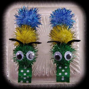 Caterpillar Hair Clip Pair Polka Dot Green
