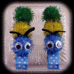 Caterpillar Hair Clip Pair Polka Dot Light Blue