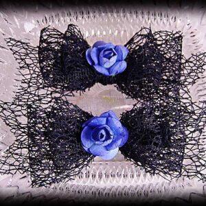 Netting Ribbon Tuxedo Hair Bows Blacks