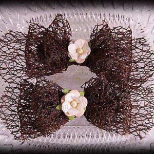 Netting Ribbon Tuxedo Hair Bows Browns