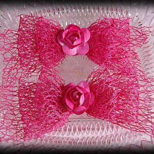 Netting Ribbon Tuxedo Hair Bows Pinks