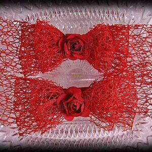 Netting Ribbon Tuxedo Hair Bows Reds