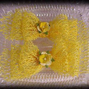 Netting Ribbon Tuxedo Hair Bows Yellows