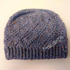 Diamond Argyle Crochet Beanie Hat in Gray