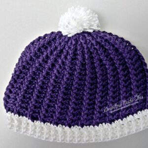 Purple Swirls Textured Crochet Hat