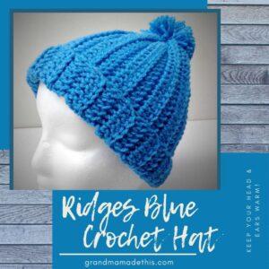 Ridges Crochet Hat Blue
