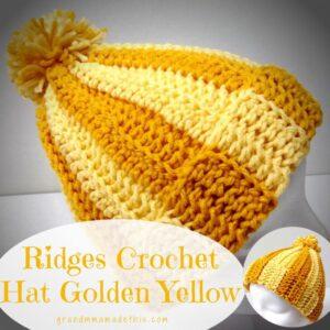 Ridges Crochet Hat Golden Yellow