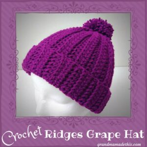 Ridges Crochet Hat Grape